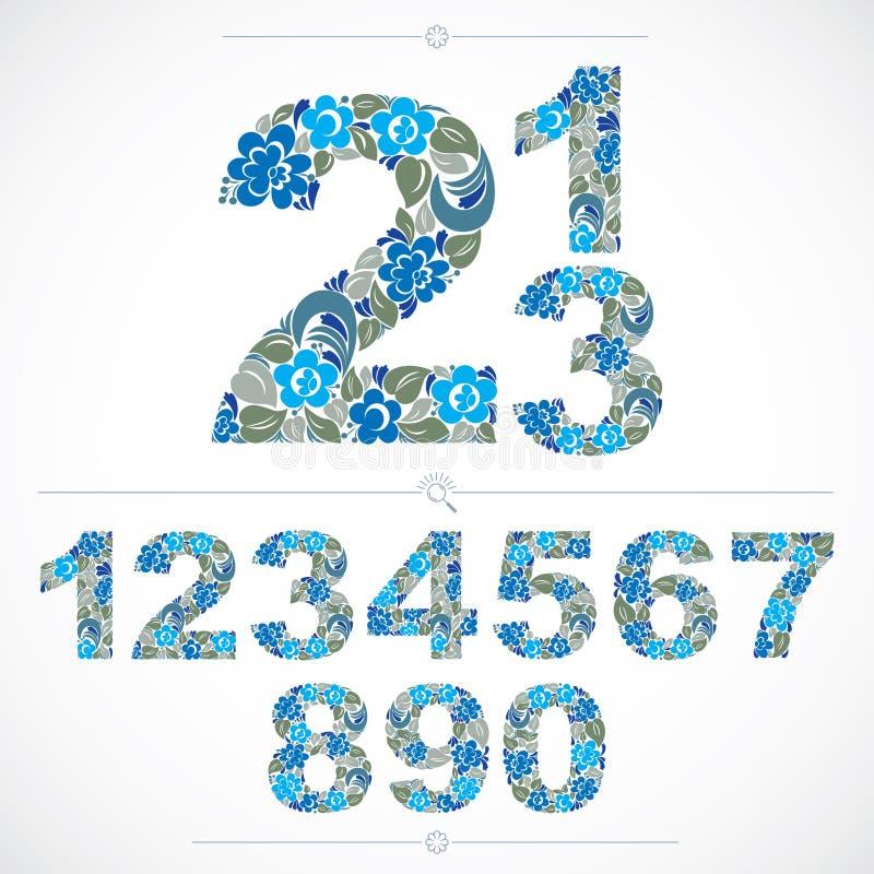 Flowery αριθμοί ύφους οικολογίας, μπλε διανυσματική αρίθμηση που γίνεται χρησιμοποίηση διανυσματική απεικόνιση