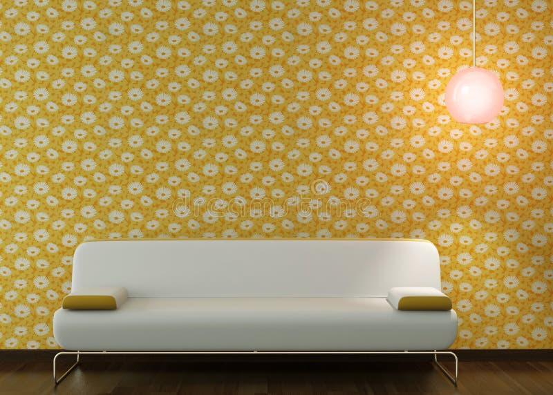 flowery εσωτερική ταπετσαρία σχεδίου καναπέδων ελεύθερη απεικόνιση δικαιώματος