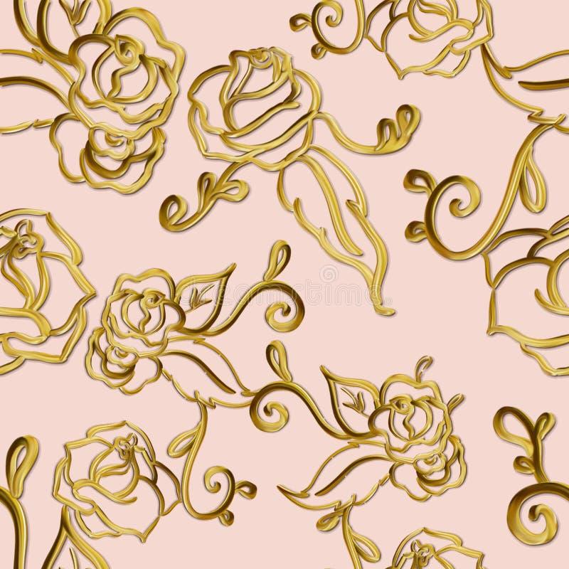 Flowery και μεταλλικό άνευ ραφής σχέδιο στροβίλων στο ουδέτερο υπόβαθρο απεικόνιση αποθεμάτων