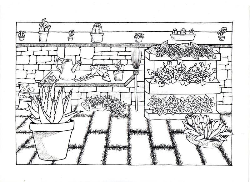 Flowery προαύλιο χειροποίητο απεικόνιση αποθεμάτων