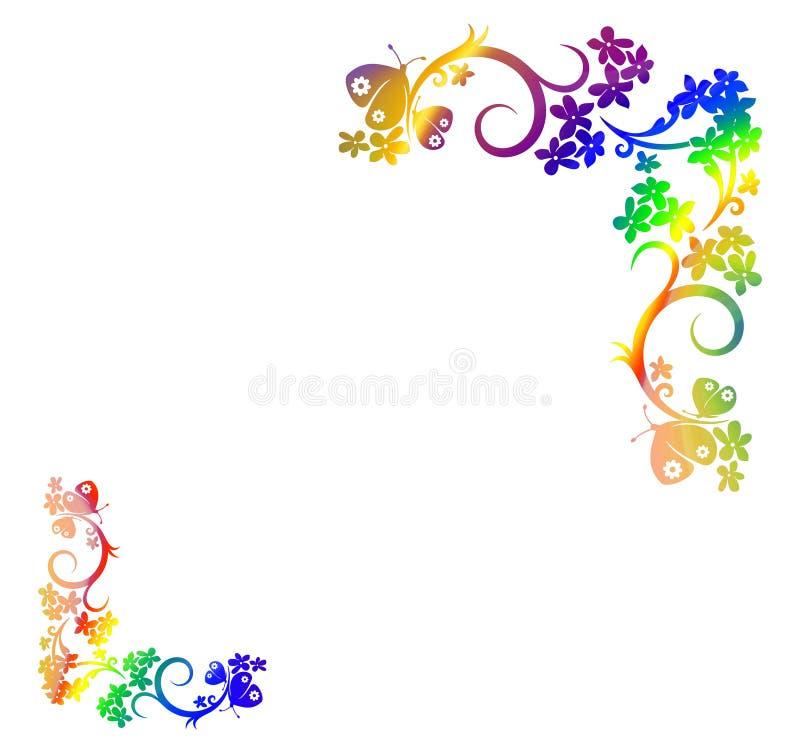 Flowery σχέδιο πλαισίων στο μπλε υπόβαθρο διανυσματική απεικόνιση