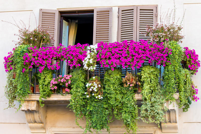 Flowery balcony royalty free stock photography