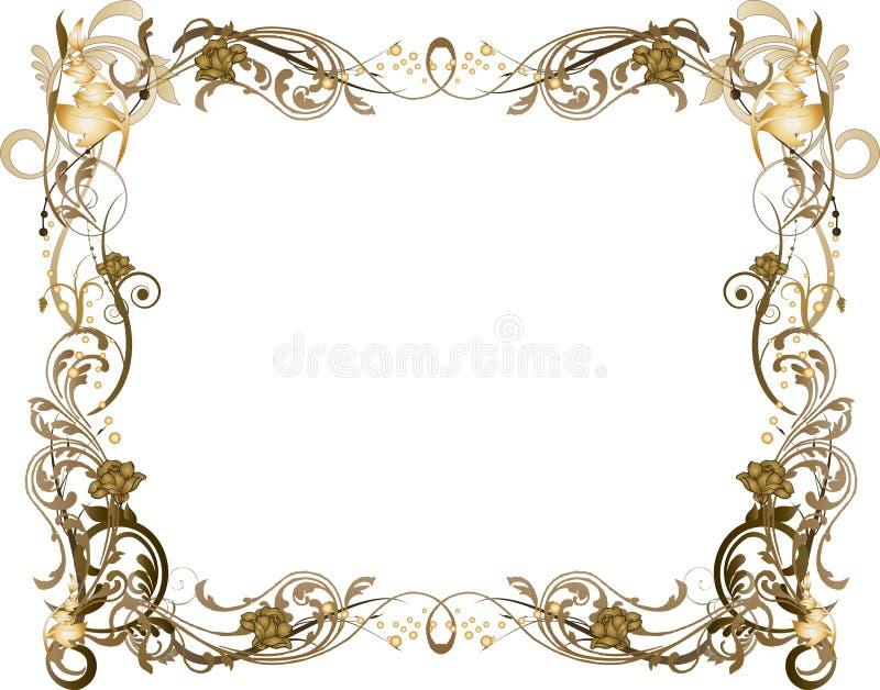 Flowery Brown and Golden Frame stock illustration