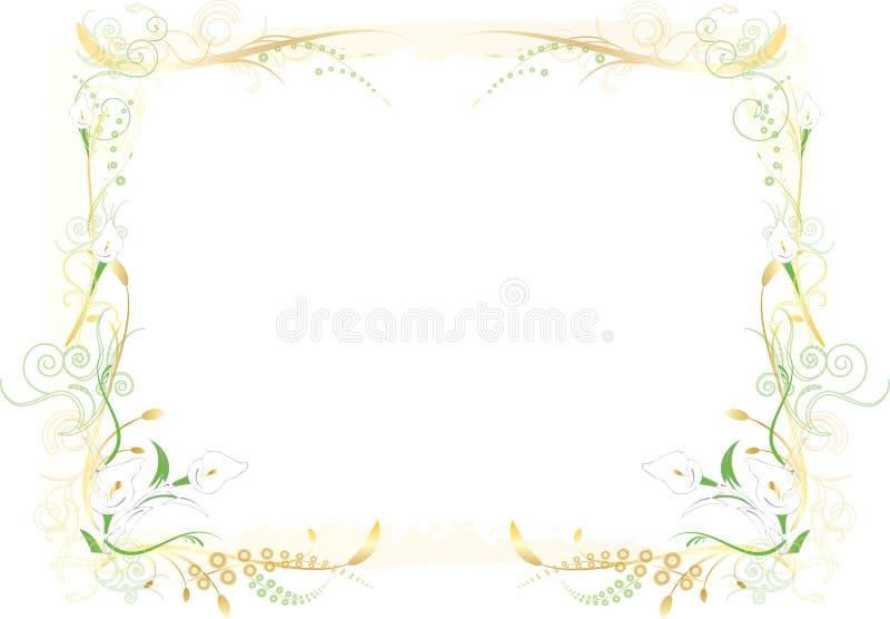 Flowery Green and Orange Frame royalty free illustration