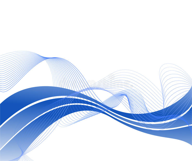 Flowing blue wave on a background stock illustration