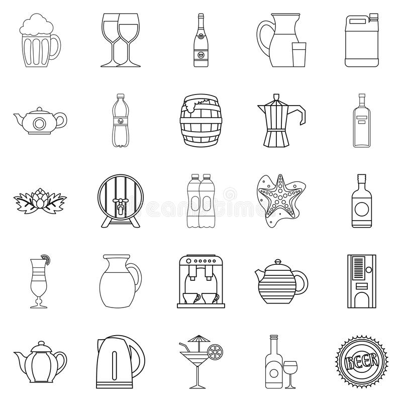 Flowing bowl icons set, outline style stock illustration