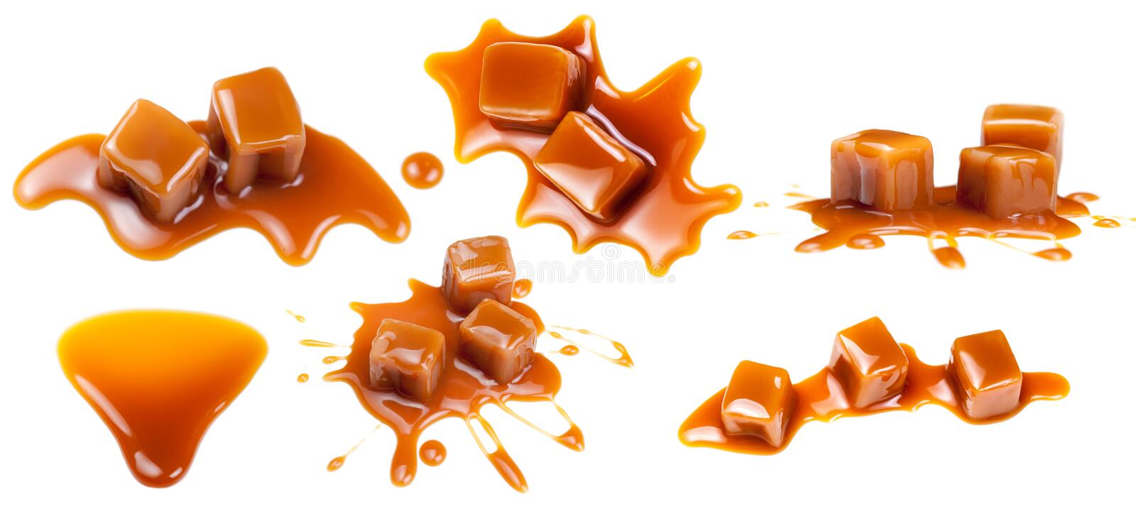 Flowing caramel sauce isolated on white background. Golden Butte stock photography