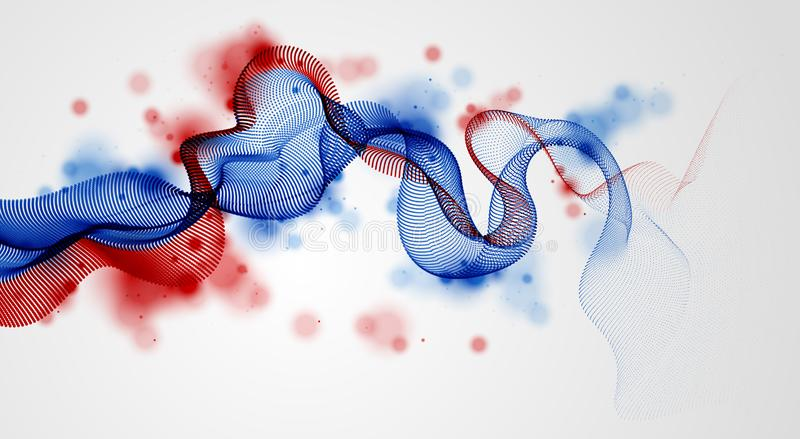Flowing energy particles, wave of blended dots. Curved dotted 3d lines vector effect illustration. 3d futuristic technology style stock illustration