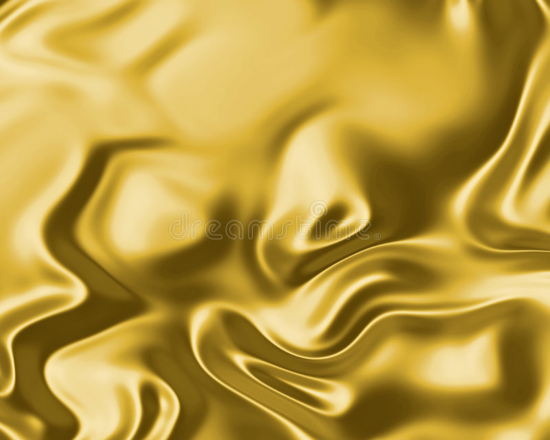 Flowing gold silk or satin. Image of luxurious flowing silk or satin fabric in gold stock illustration