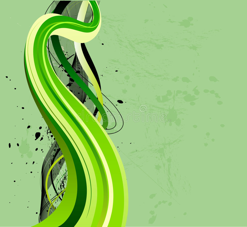 Flowing green waves. Grungy green and black wave design vector illustration