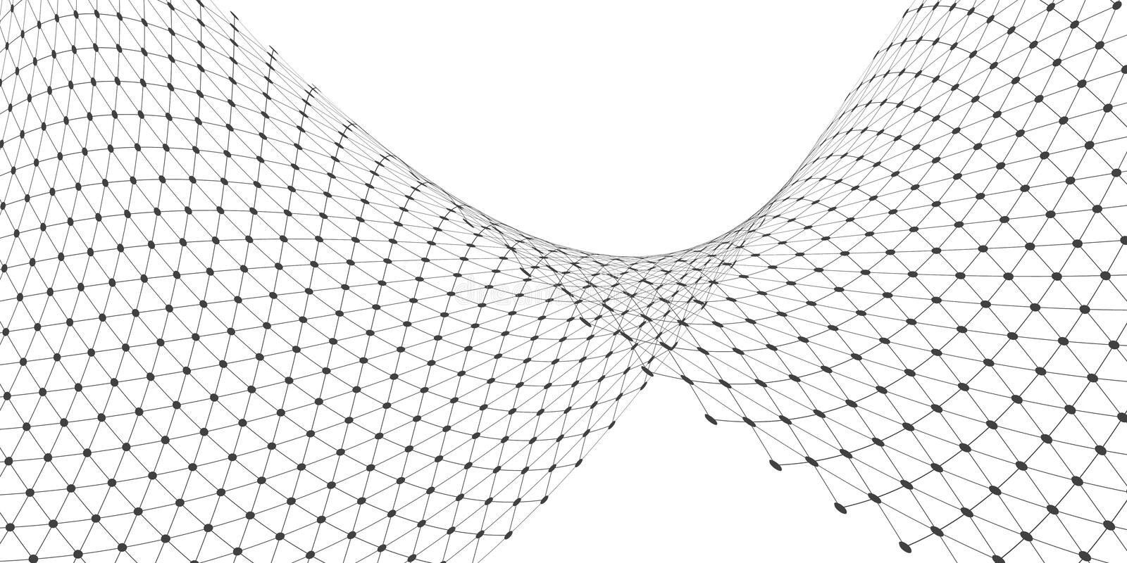 Flowing grid in black and white royalty free illustration