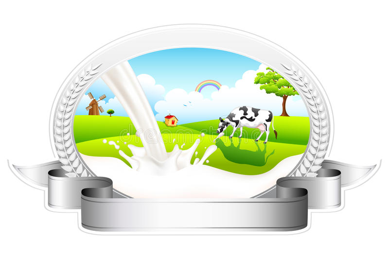 Download Flowing Milk With Grazing Cow Stock Vector - Image: 26052958