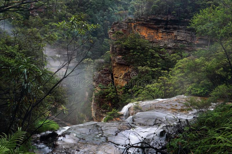 Flowing over the ledge at Wentworth Falls. Water fed by the Jamison Creek flows over the cliff Wentworth Falls for a drop of around 187 metres to the bottom of stock images