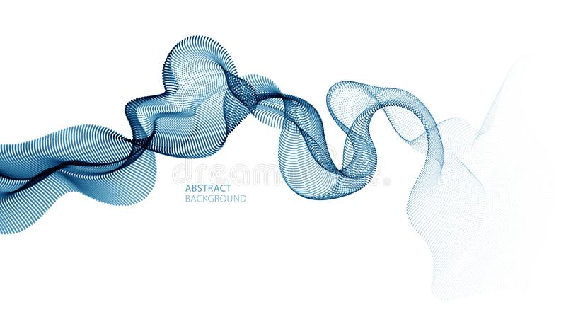 Flowing particles wave, dynamic sound motion curve lines. 3d vector illustration. Beautiful wave shaped array of blended points royalty free illustration