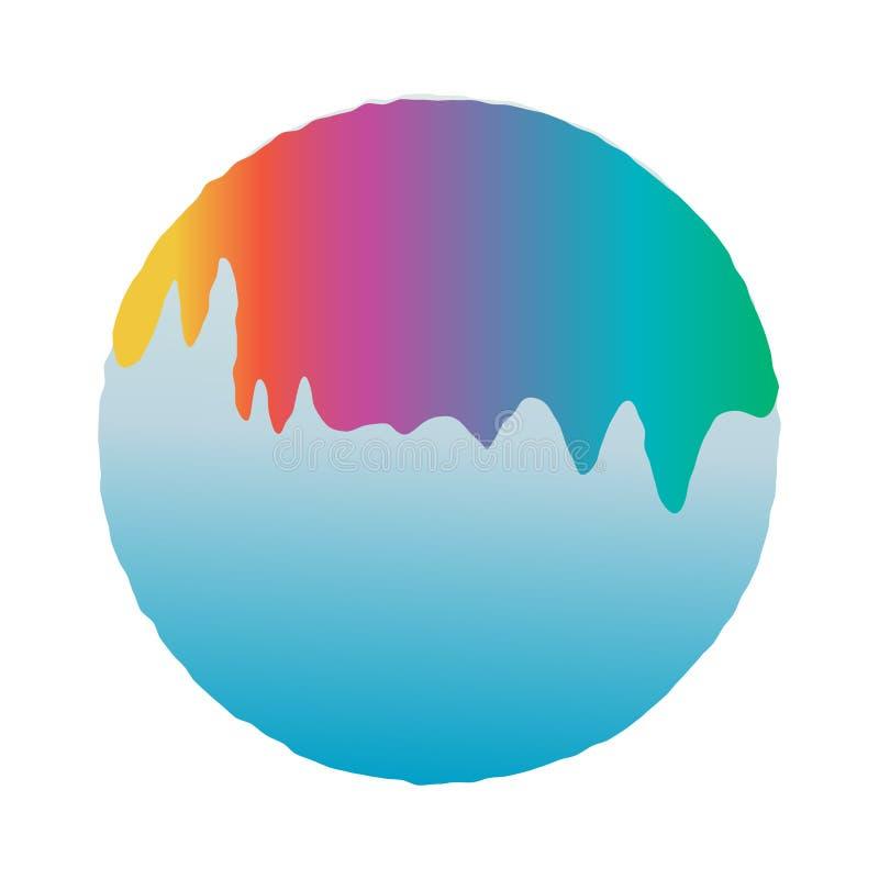 Rainbow Snowball Vector Design stock illustration