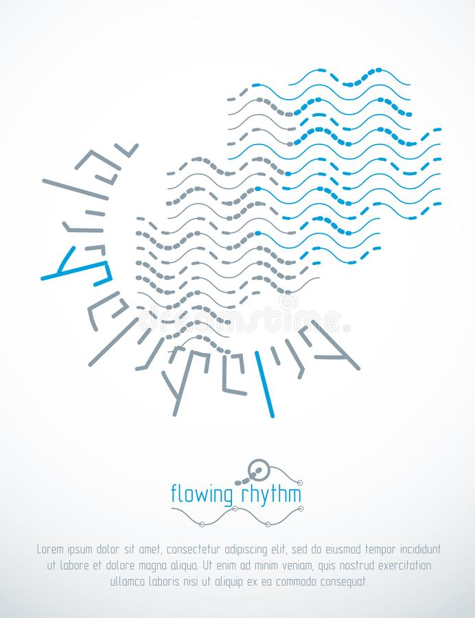 Flowing rhythm, abstract wave lines vector background for use as advertising poster or banner. Design vector illustration