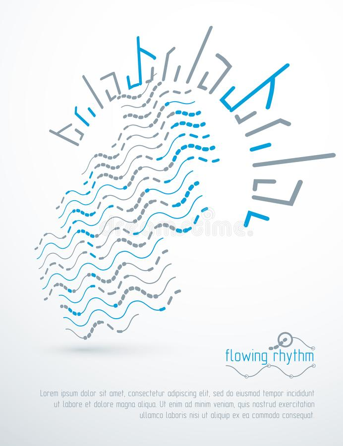 Flowing rhythm, abstract wave lines vector background for use as advertising poster or banner. Design stock illustration