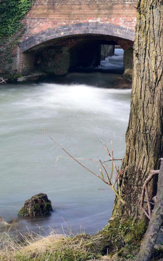 Flowing river Cherwell stock images