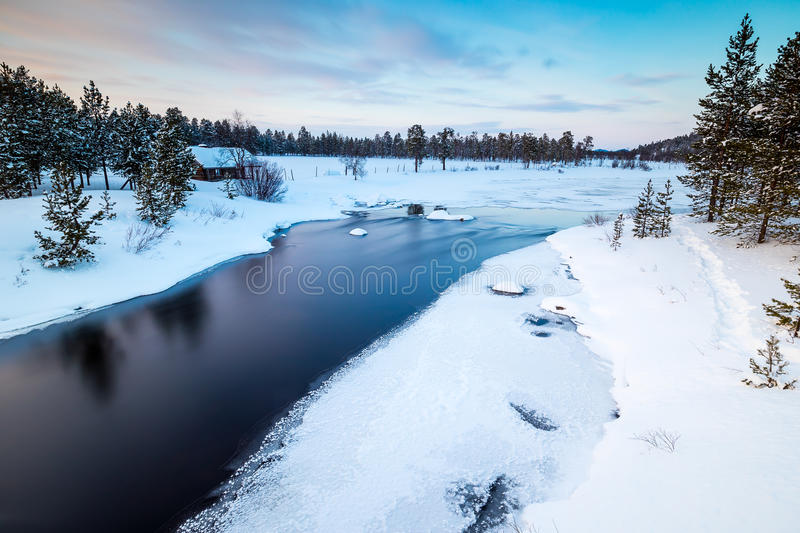 Flowing river in Finnish Lapland royalty free stock photos