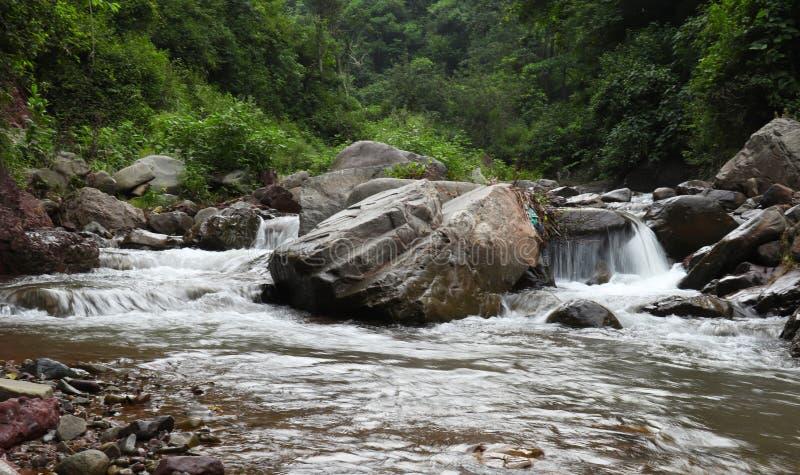 Flowing river in himachal pradesh. River flow in stones in himalayan mountains in Himachal Pradesh India stock image