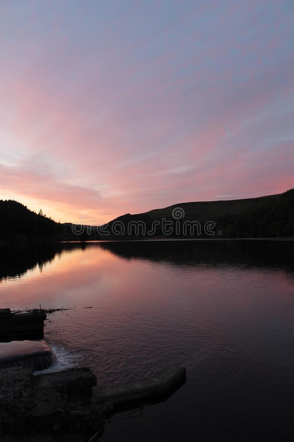 Download Flowing River Reservoir With Small Waterfall At Sunset.Peak District. Derwent Valley. Stock Photo - Image of holmfirth, landscape: 67114758