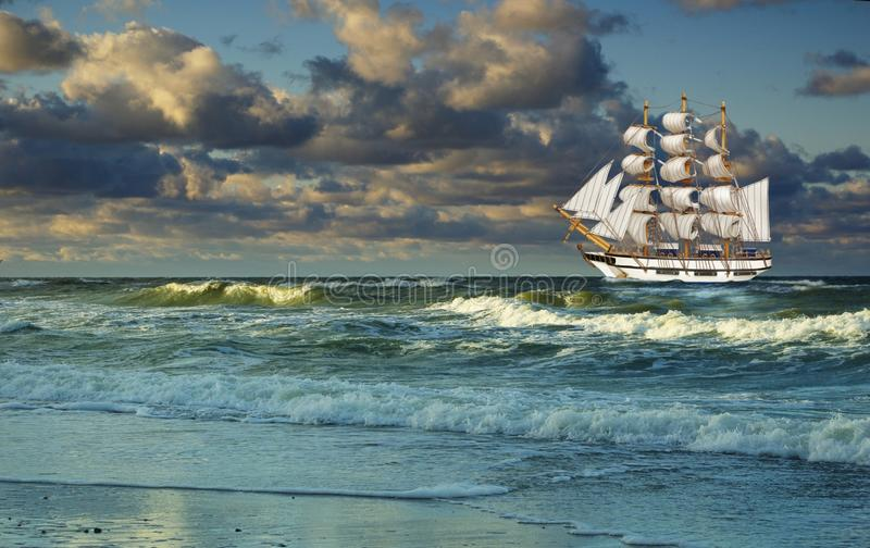 Flowing With  Sea Sailing-ship Royalty Free Stock Photo