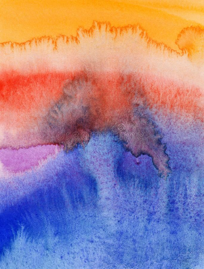 Flowing water colors on paper. Abstract pattern of the flowing water colors on paper royalty free illustration