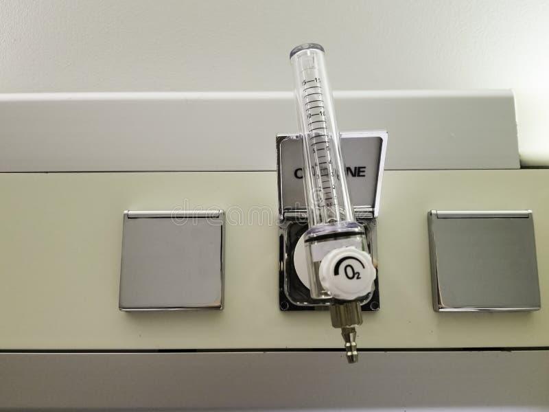Flowmeter för förbindande syretillförsel i sjukhuset royaltyfria bilder