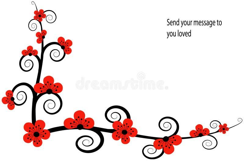 Flowres vermelhos orientais ilustração royalty free