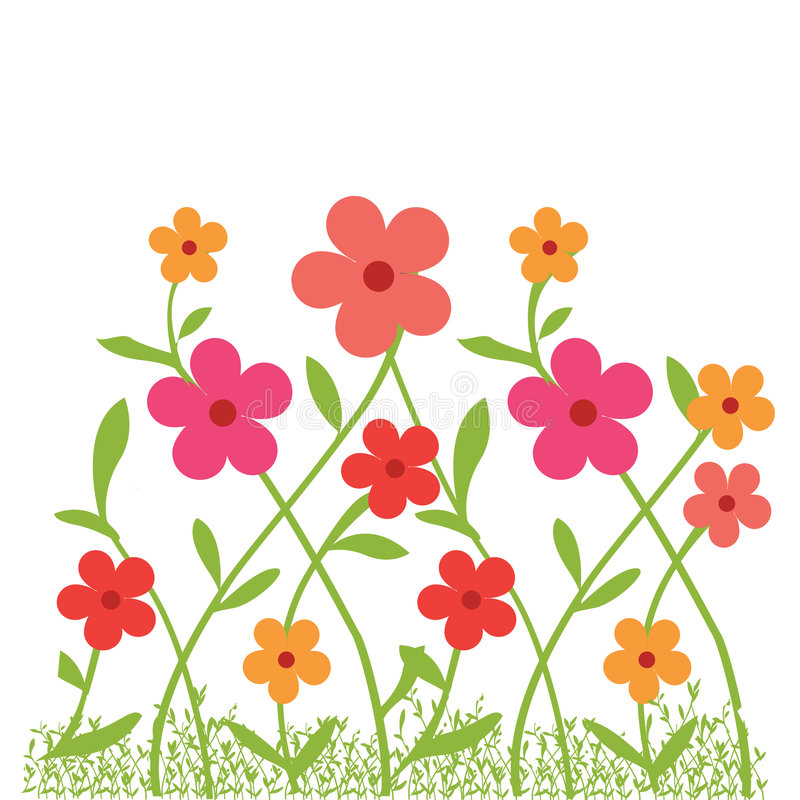 Flowrs in tuin stock illustratie
