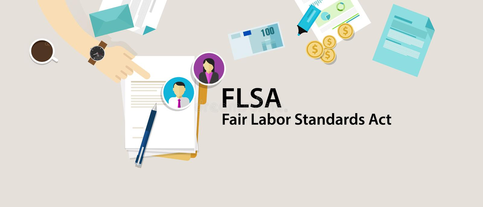 FLSA Fair Labor Standards Act paper employee. Vector stock illustration