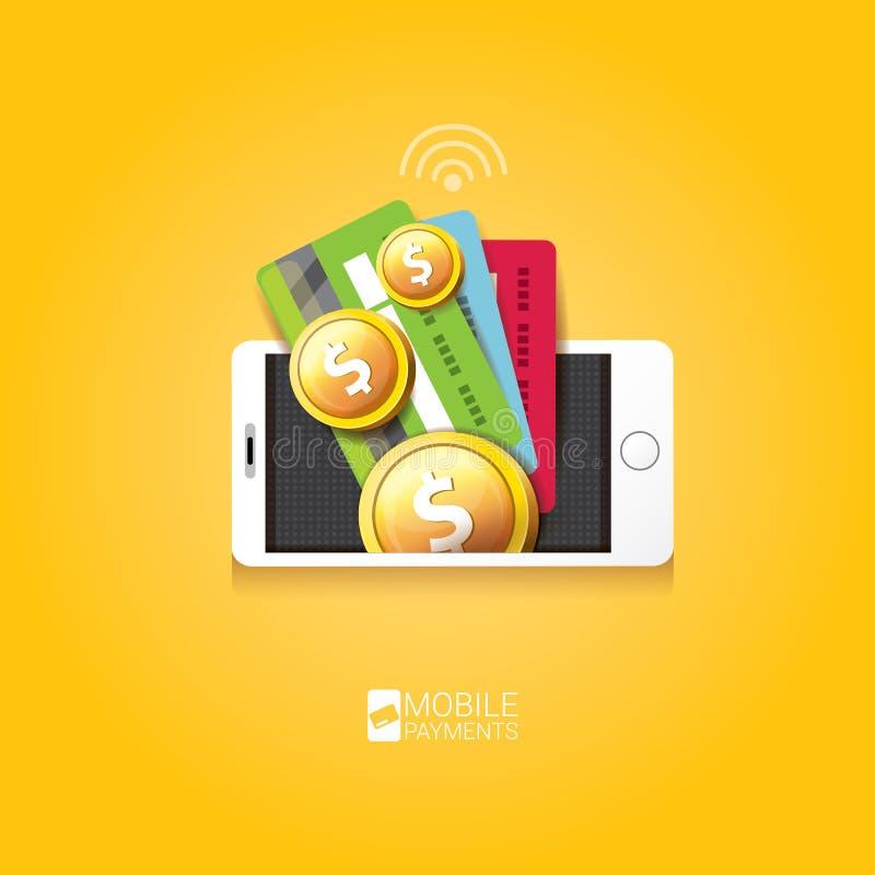 Flsmartphone处理流动付款 皇族释放例证
