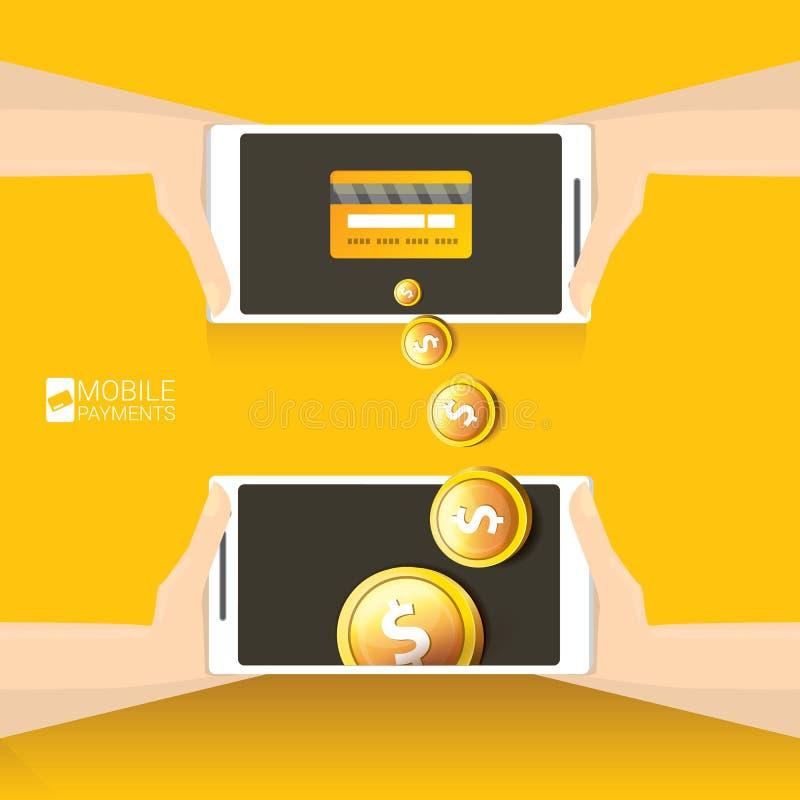 Flsmartphoneverwerking van mobiele betalingen vector illustratie