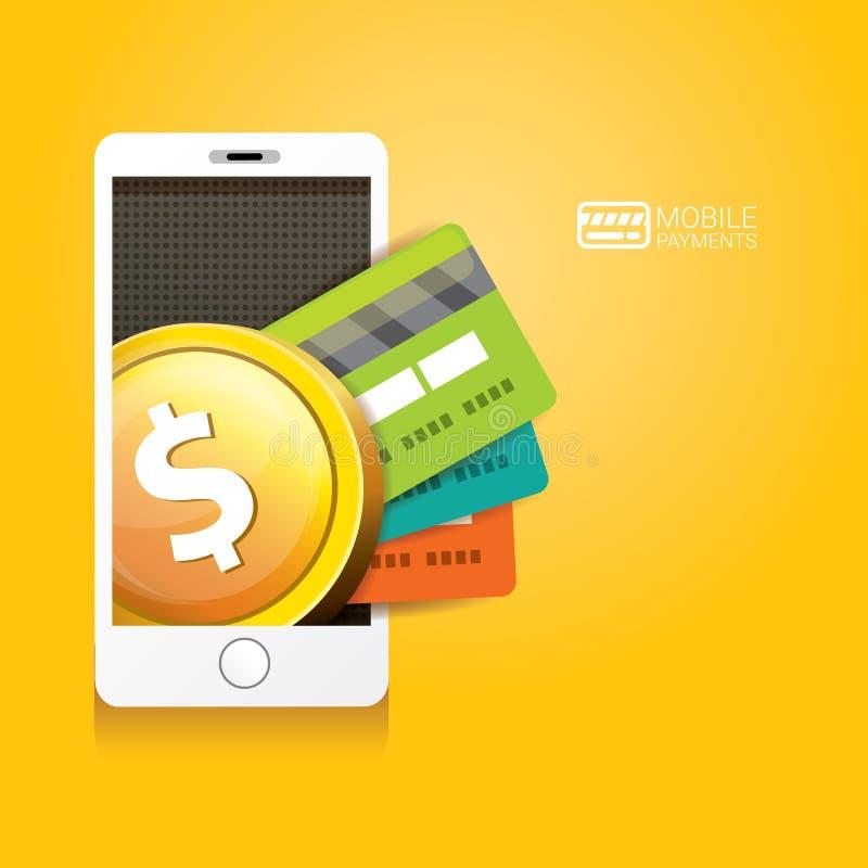 Flsmartphoneverwerking van mobiele betalingen royalty-vrije illustratie