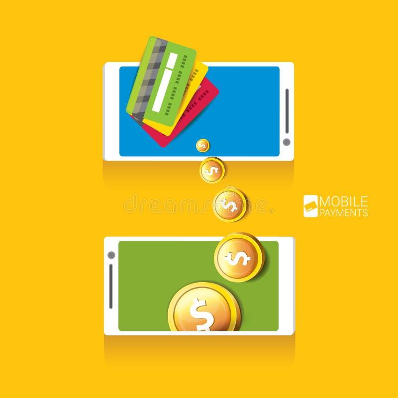 Flsmartphoneverwerking van mobiele betalingen stock illustratie
