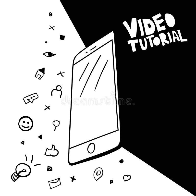 Flu?ncia video, conceito publicando em blogs do cartaz ilustração do vetor