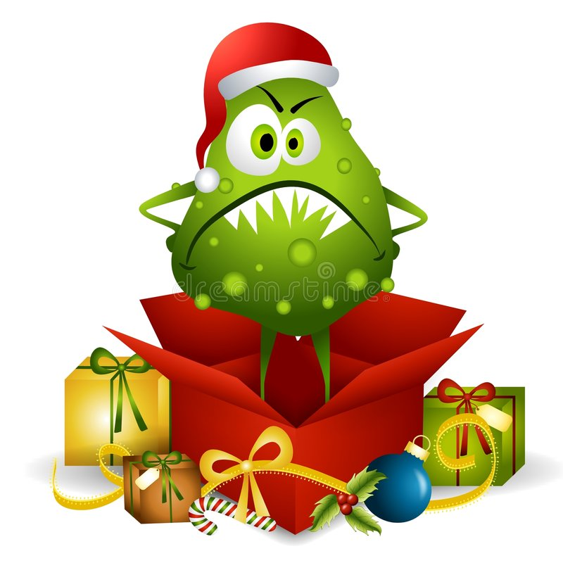 Flu Bug Christmas Present stock illustration