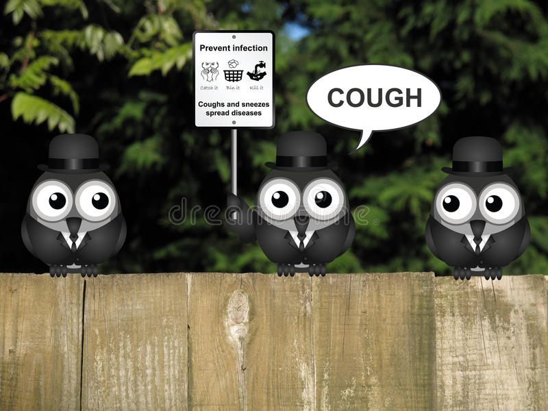 Flu and cold prevention. Comical flu and cold prevention sign with birds perched on a timber garden fence against a foliage background royalty free stock photography