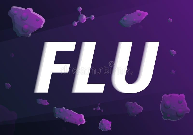 Flu concept banner, cartoon style vector illustration