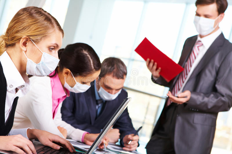 During flu epidemy stock images