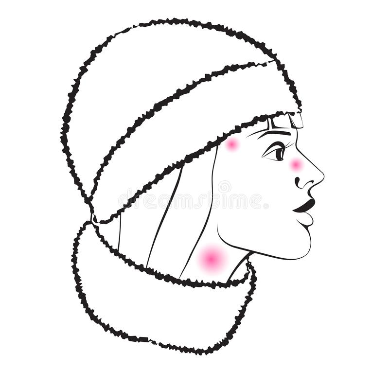 Flu season and colds. Profile of a sick girl with the symptoms of the disease in a hat and scarf. stock photography