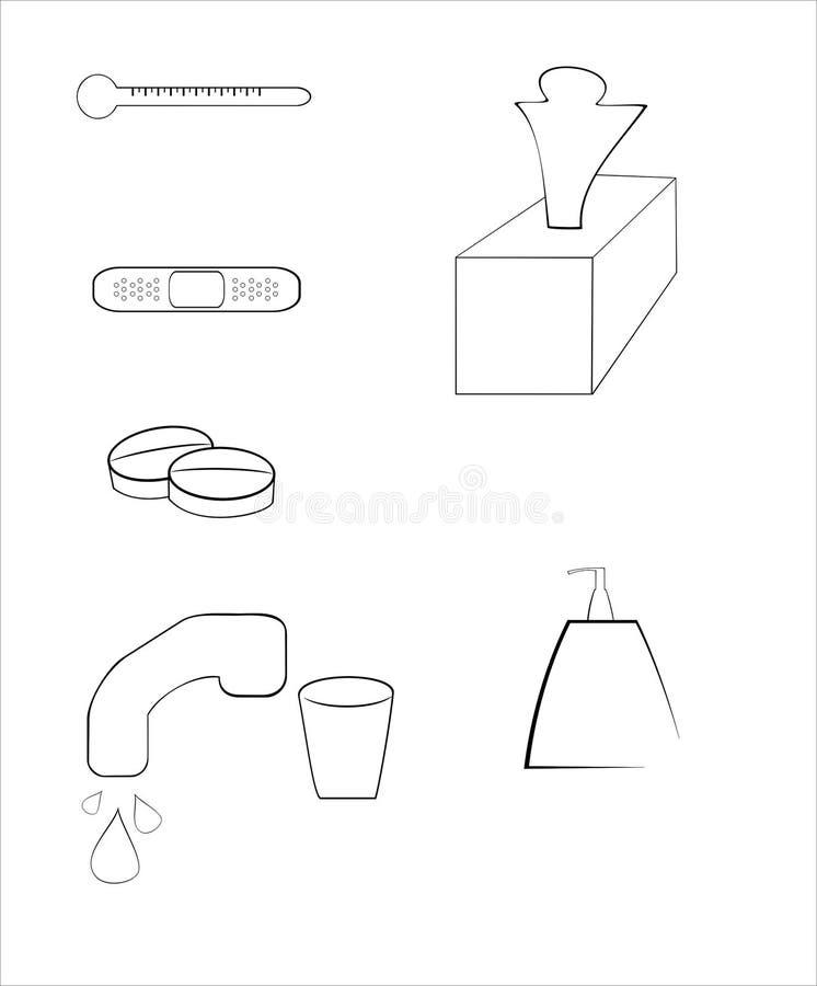 Download Flu set stock vector. Image of illustration, bandage - 12556746