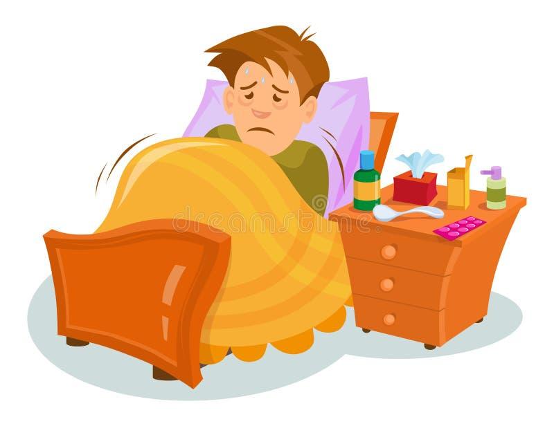 Flu sickness. Sick person having cold. Ill man headache. Medicine for the disease. Flu illness person. Ð¡artoon sick man. Vector graphics to design royalty free illustration