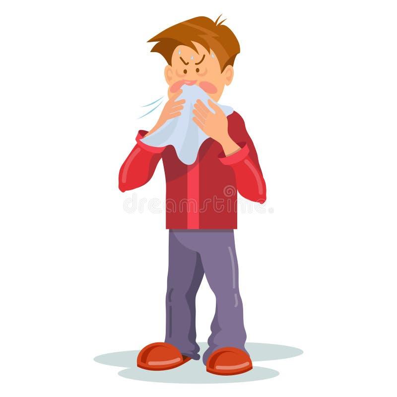 Flu sickness. Sick person having cold. Ill man headache. Medicine for the disease. Flu illness person. Ð¡artoon sick man. Vector graphics to design vector illustration