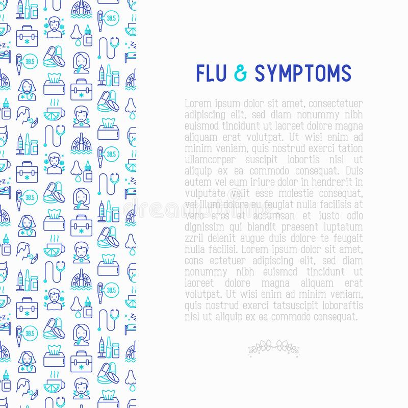 Flu and symptoms concept thin line icons. Temperature, chills, heat, runny nose, doctor with stethoscope, nasal drops, cough, phlegm in the lungs. Modern vector illustration