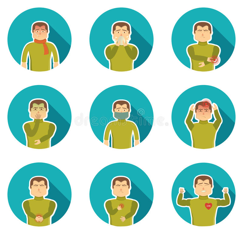Flu Symptoms Icon Set vector illustration