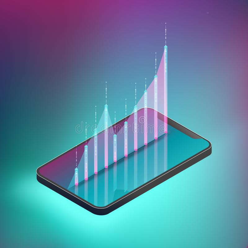Fluctuated graph on smartphone illustrate stock trading. royalty free illustration