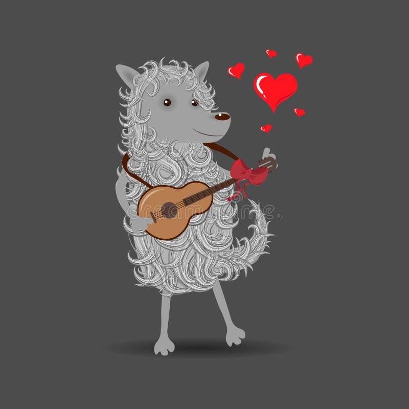 Fluffig hund för rolig vit tecknad film som spelar en gitarr som sjunger om förälskelse royaltyfri illustrationer
