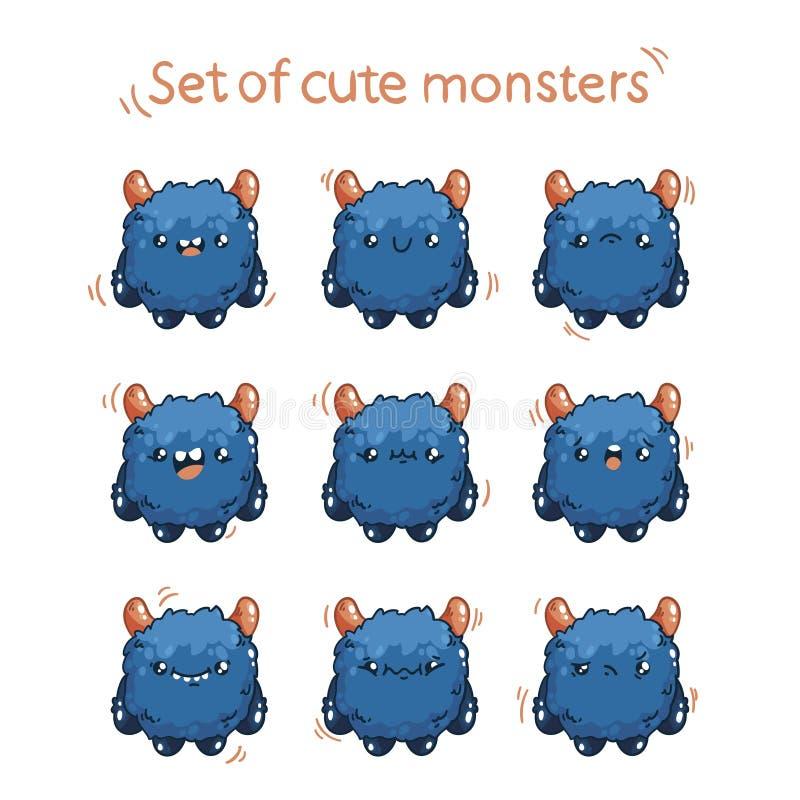 Fluffigt monster för gullig tecknad film med olika sinnesrörelser Teckenmonster för modig design vektor illustrationer