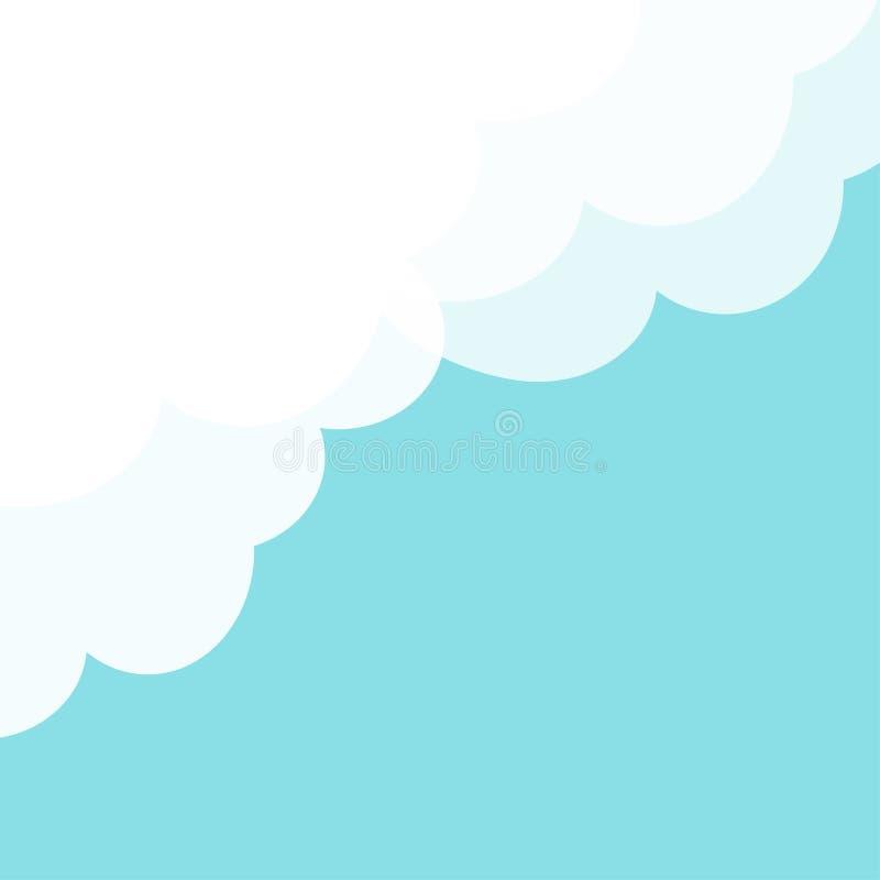 Fluffigt vitt moln för blå himmel i hörnet Inrama mallen Molnigt väder Cloudshape Plan design abstrakt pastell för bakgrundsfract royaltyfri illustrationer
